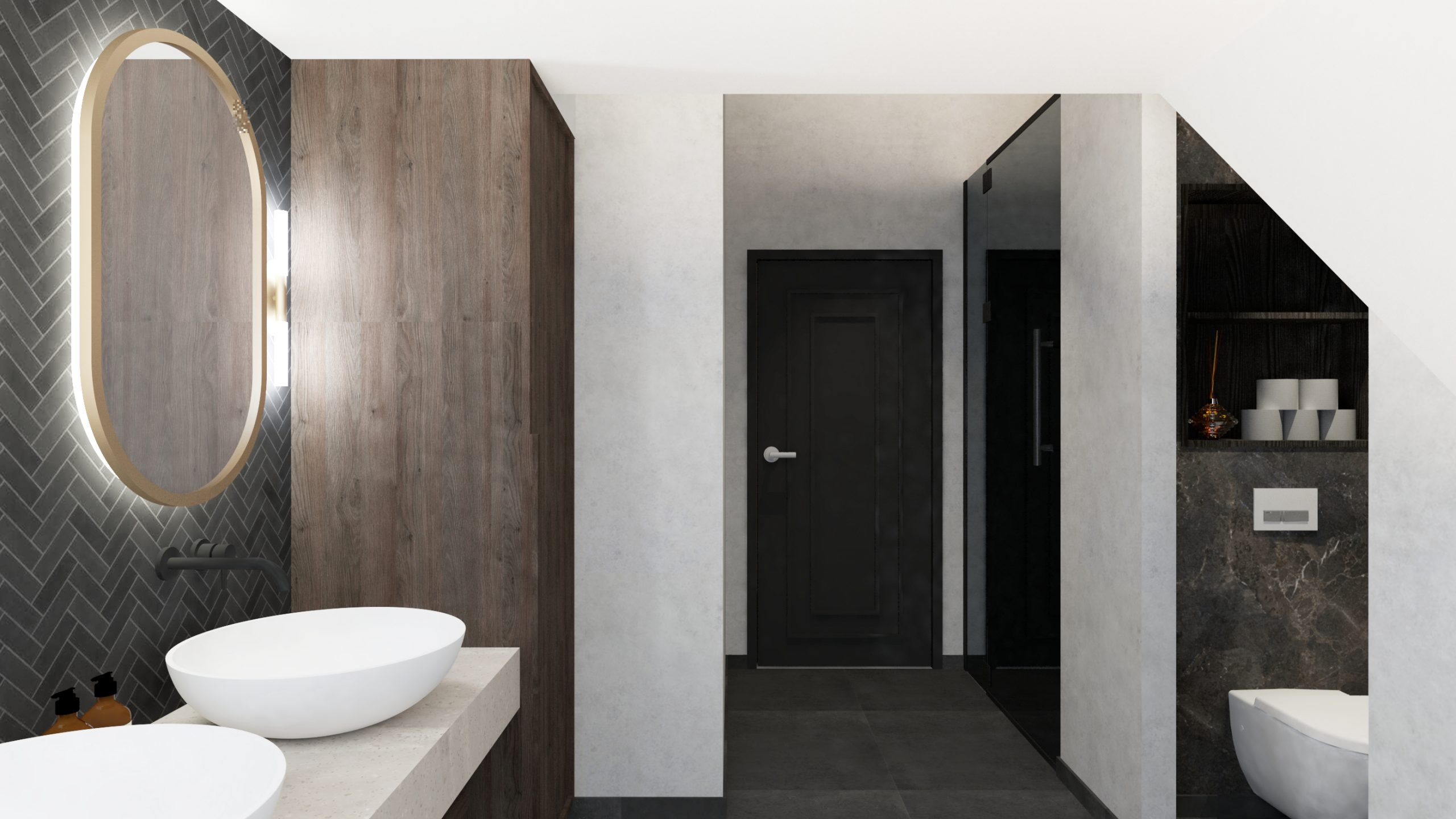 Visgraat wandtegel badkamer